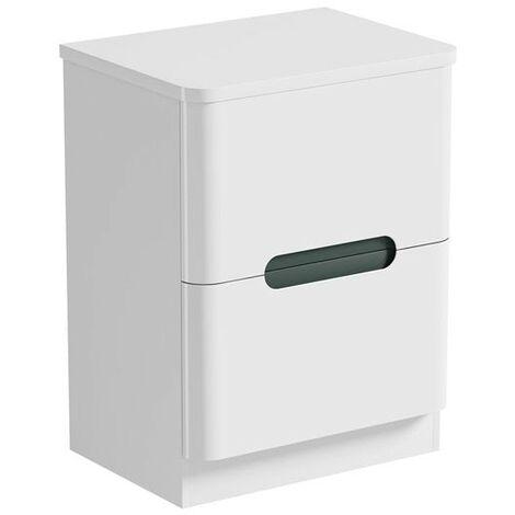 Mode Ellis slate floorstanding vanity drawer unit and countertop 600mm