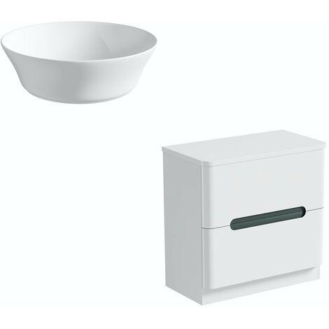 Mode Ellis slate floorstanding vanity drawer unit and countertop 800mm with Calhoun basin