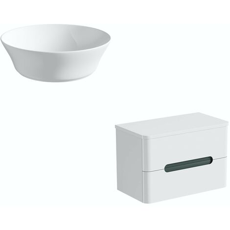 Mode Ellis slate wall hung vanity drawer unit and countertop 800mm with Bowery basin
