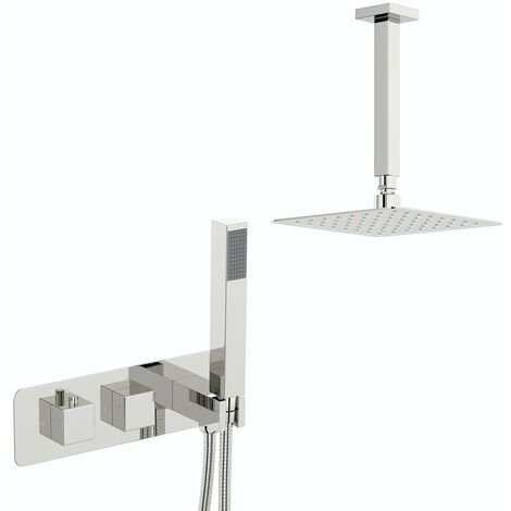 Mode Ellis square concealed thermostatic mixer shower with ceiling arm 400mm shower head