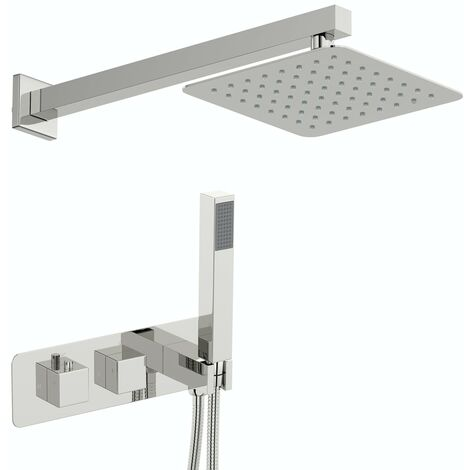 Mode Ellis square concealed thermostatic mixer shower with wall arm and 200mm shower head