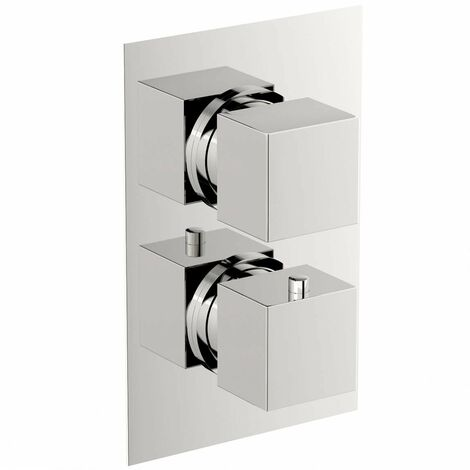 Mode Ellis square twin thermostatic shower valve with diverter