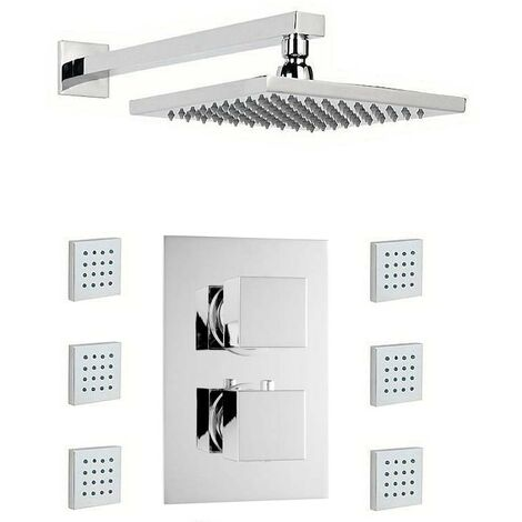 Mode Ellis thermostatic twin shower valve with body jets and shower head set 400mm shower head