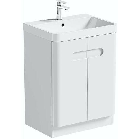 Mode Ellis white floorstanding vanity door unit and basin 600mm