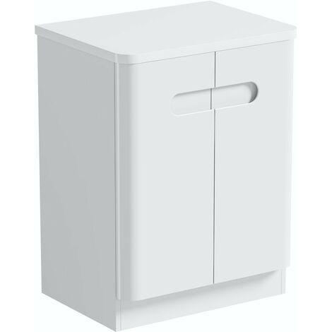 Mode Ellis white floorstanding vanity door unit and countertop 600mm