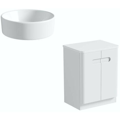 Mode Ellis white floorstanding vanity door unit and countertop 600mm with Calhoun basin