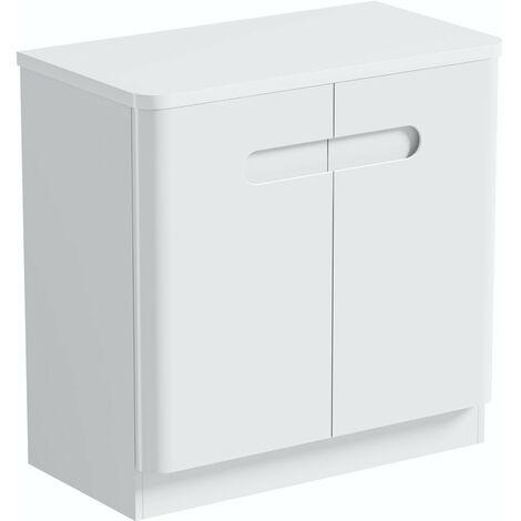 Mode Ellis white floorstanding vanity door unit and countertop 800mm