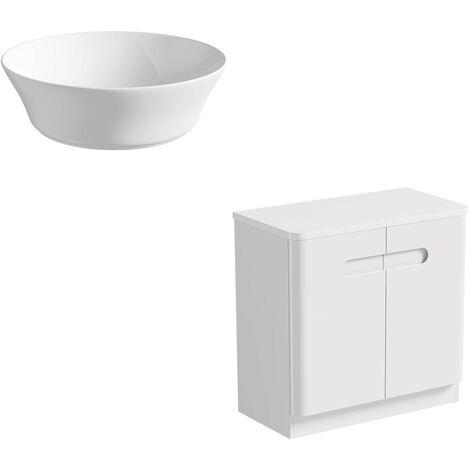 Mode Ellis white floorstanding vanity door unit and countertop 800mm with Bowery basin