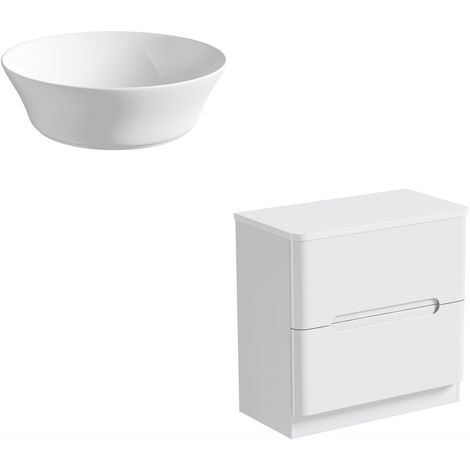 Mode Ellis white floorstanding vanity drawer unit and countertop 800mm with Bowery basin