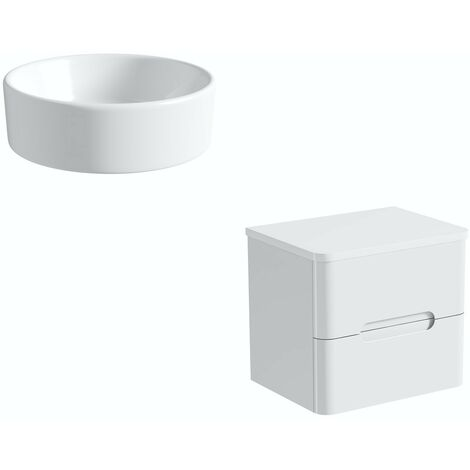 Mode Ellis white wall hung vanity drawer unit and countertop 600mm with Calhoun basin