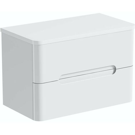 Mode Ellis white wall hung vanity drawer unit and countertop 800mm