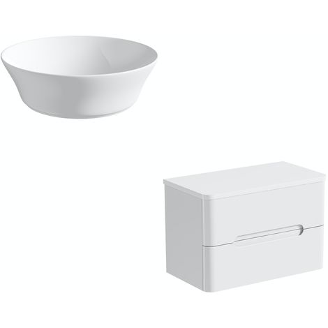 Mode Ellis white wall hung vanity drawer unit and countertop 800mm with Bowery basin