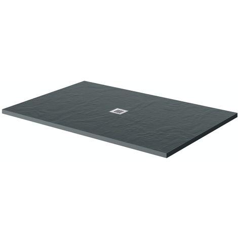 Mode grey slate effect rectangle stone shower tray 1200 x 800