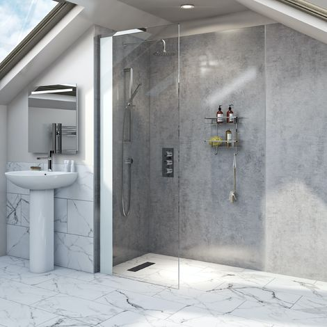 Mode Hale 8mm low iron glass wet room glass screen with frosted panel 800mm