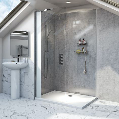 Mode Hale 8mm low iron glass wet room glass screen with stone shower tray 1200 x 800