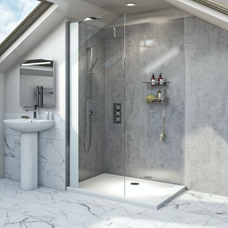 Mode Hale 8mm low iron glass wet room glass screen with stone shower tray 1400 x 900