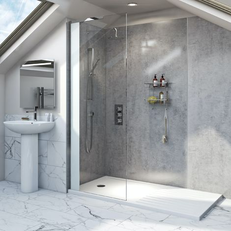 Mode Hale 8mm low iron glass wet room glass screen with walk-in shower tray 1600 x 800