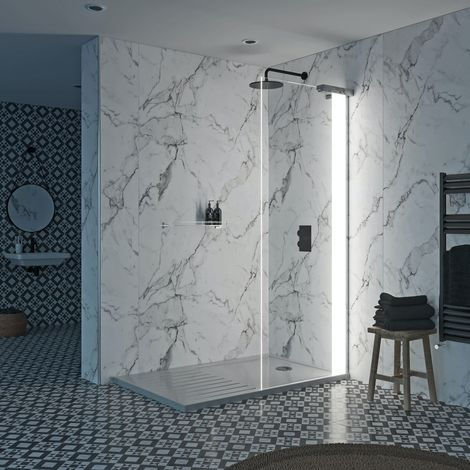 Mode Hale 8mm right handed walk in shower enclosure pack with walk in shower tray 1600 x 800