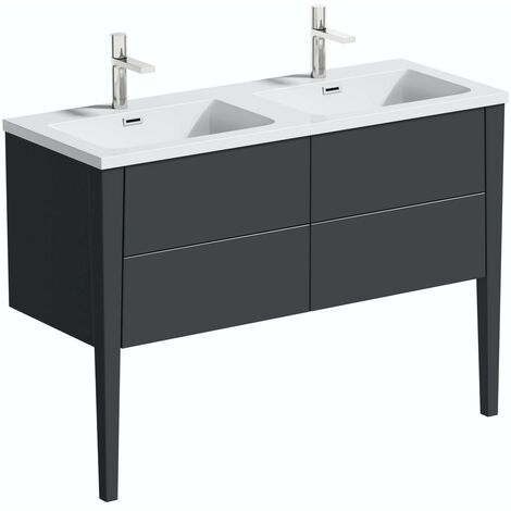 Mode Hale grey gloss wall hung double vanity unit and basin 1200mm