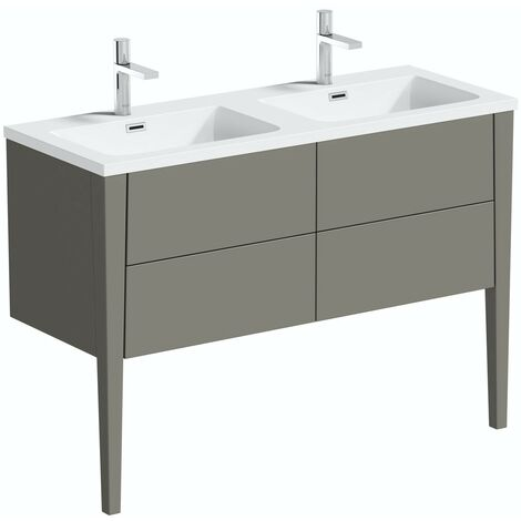 Mode Hale grey-stone matt wall hung double vanity unit and basin 1200mm