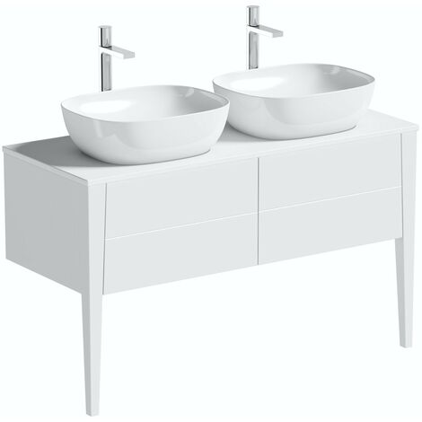 Mode Hale white gloss wall hung double vanity unit with ceramic countertop and basins 1200mm
