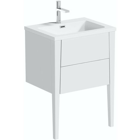 Mode Hale white gloss wall hung vanity unit and basin 600mm