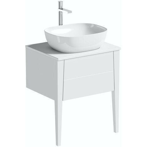 Mode Hale white gloss wall hung vanity unit with ceramic countertop and basin 600mm