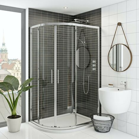 Mode Hardy 8mm left handed offset quadrant shower enclosure and stone shower tray 1200 x 800