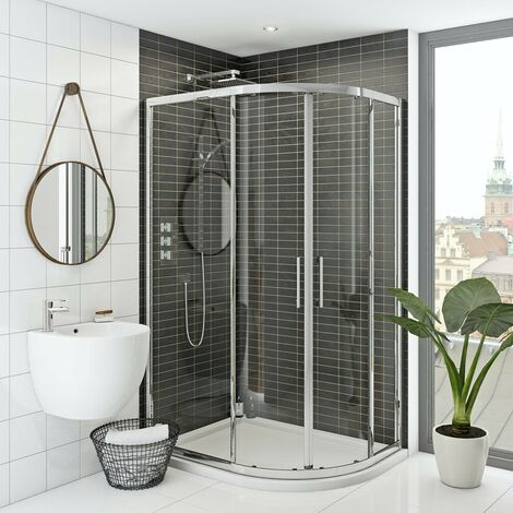 Mode Hardy 8mm right handed offset quadrant shower enclosure and stone shower tray 1200 x 800
