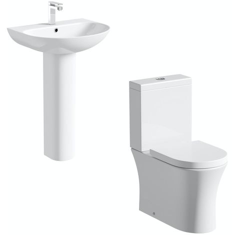 Mode Hardy rimless cloakroom suite with full pedestal basin 555mm