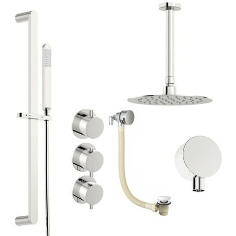 Mode Hardy thermostatic shower valve with complete ceiling shower bath set 400mm