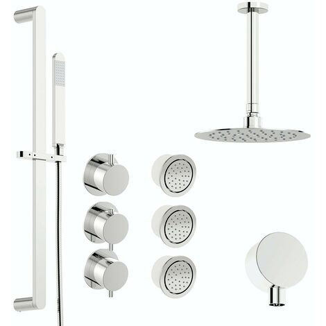 Mode Hardy thermostatic shower valve with complete ceiling shower set 200mm
