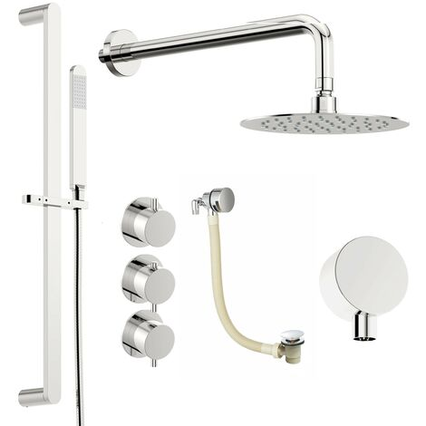 Mode Hardy thermostatic shower valve with complete wall shower bath set 250mm