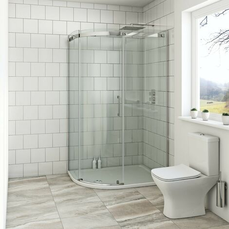 Mode Harrison 8mm left handed offset quadrant shower enclosure with stone tray 1200 x 800