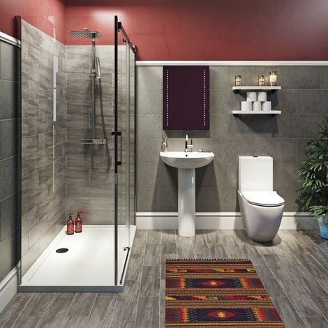 Mode Harrison complete bathroom suite with enclosure, tray, shower and taps 1600 x 800