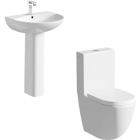 Mode Harrison rimless cloakroom suite with full pedestal basin 555mm