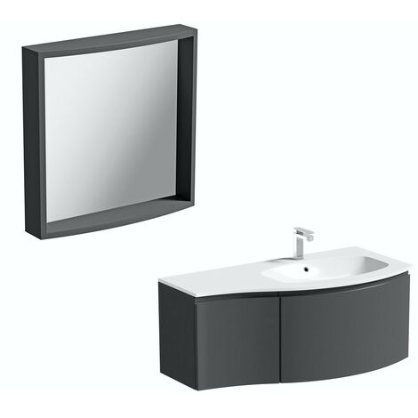Mode Harrison slate grey right handed wall hung vanity unit and basin 1000mm with mirror