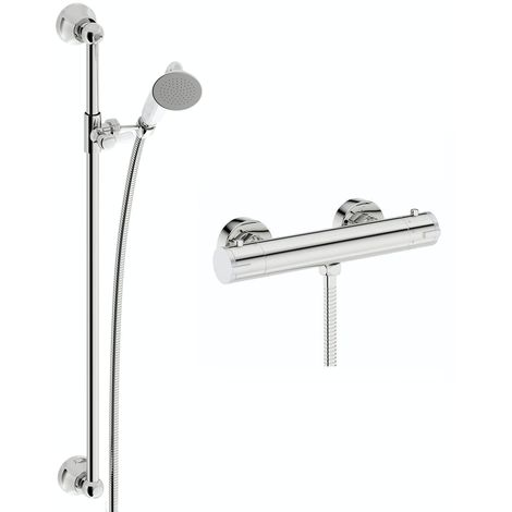 Mode Harrison thermostatic shower bar valve with traditional sliding shower rail kit