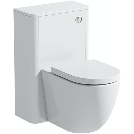 Mode Harrison white back to wall unit and rimless toilet with soft close seat