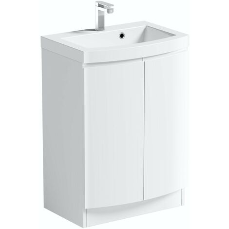 Mode Harrison white floorstanding vanity door unit and basin 600mm