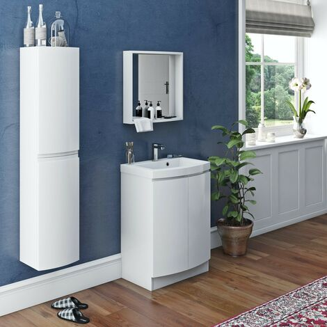 Mode Harrison white furniture package with floorstanding vanity door unit 600mm