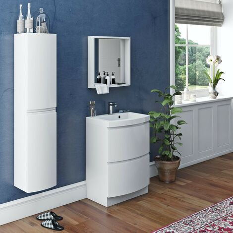 Mode Harrison white furniture package with floorstanding vanity drawer unit 600mm