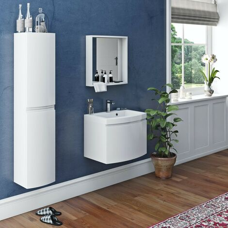 Mode Harrison white furniture package with wall hung vanity unit 600mm
