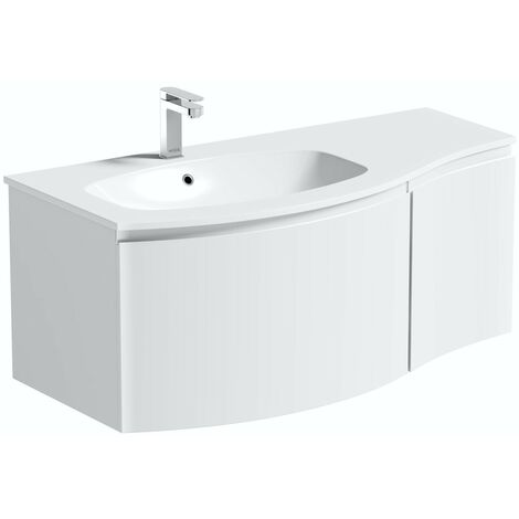 Mode Harrison white left handed wall hung vanity unit and basin 1000mm