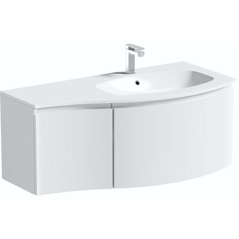 Mode Harrison white right handed wall hung vanity unit and basin 1000mm