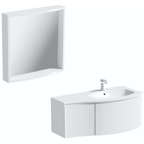 Mode Harrison white right handed wall hung vanity unit and basin 1000mm with mirror