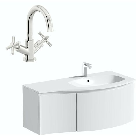 Mode Harrison white right handed wall hung vanity unit and basin 1000mm with tap