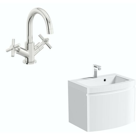 Mode Harrison white wall hung vanity unit and basin 600mm with tap