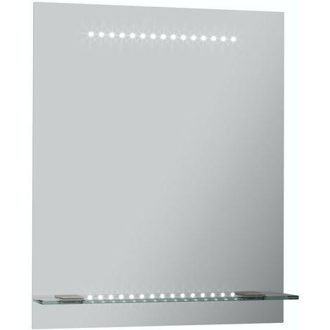 Mode Iridonia LED illuminated mirror and shelf 600 x 500mm with demister & charging socket