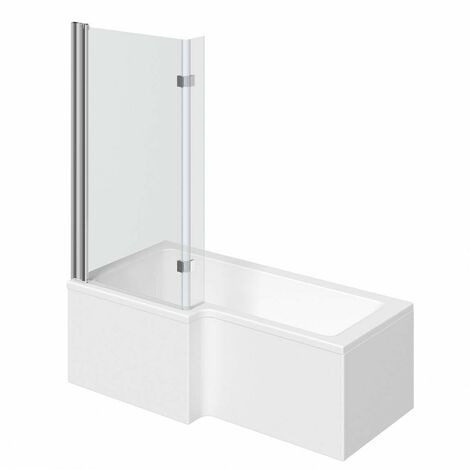 Mode L shaped left handed shower bath 1700mm with 8mm hinged shower screen